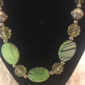 """""""GREEN BEADED"""" Necklace ."""